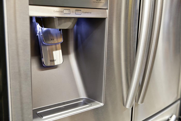 Exterior refrigerator ice and water dispenser.