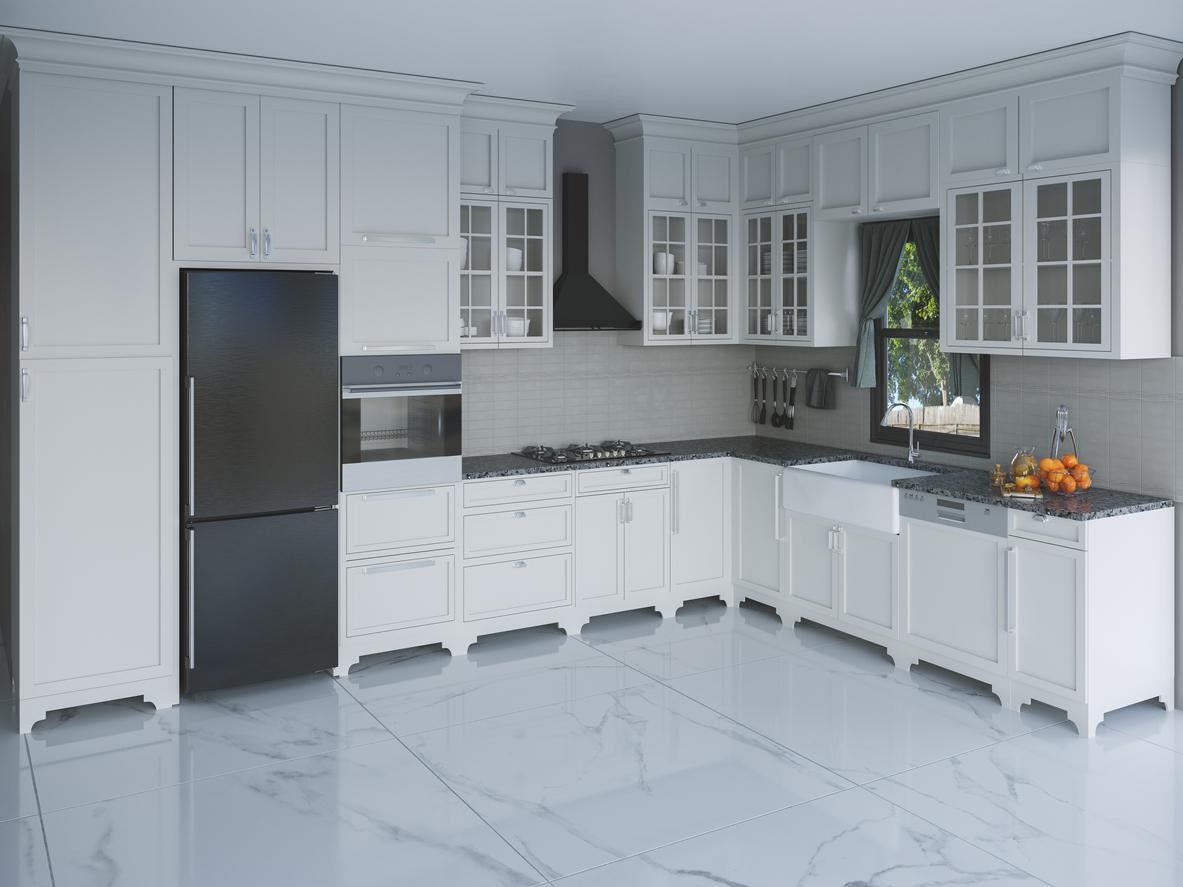 modern kitchen interior with black appliances