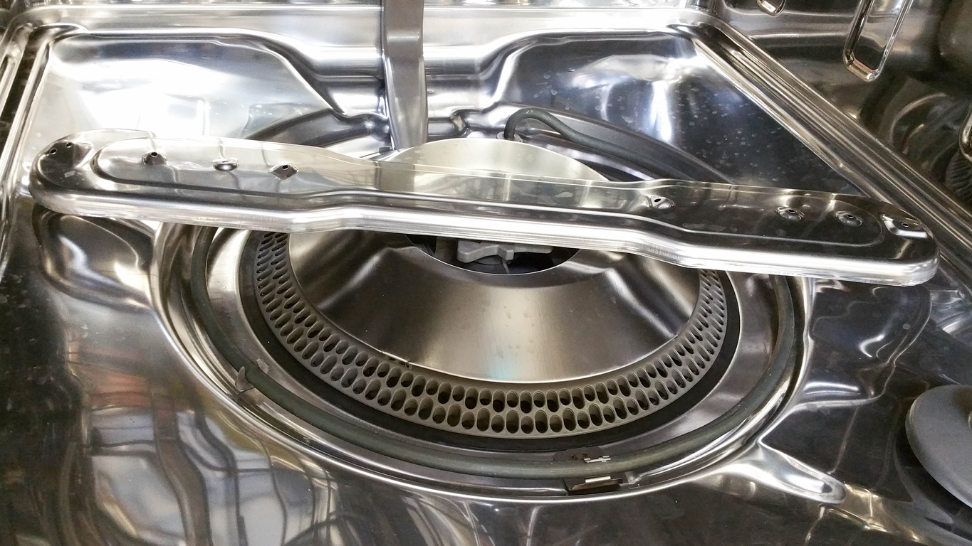 inside view of hard food disposal filter system on built in dishwasher