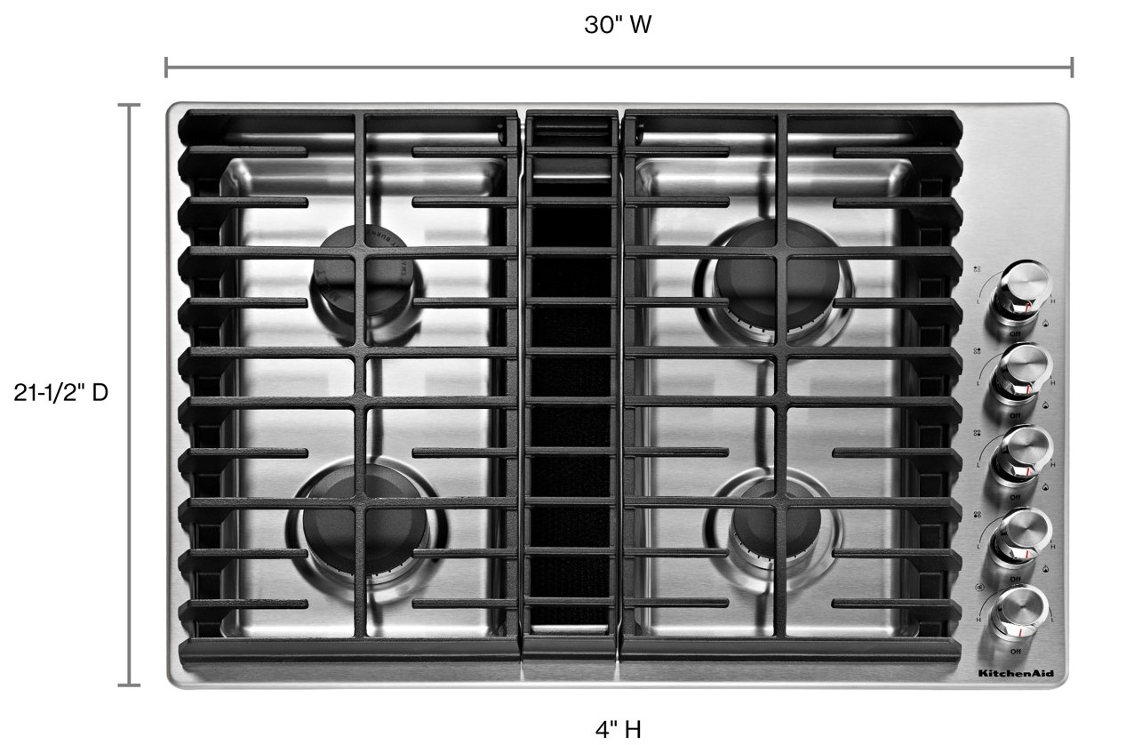 gas cooktop with continuous grates