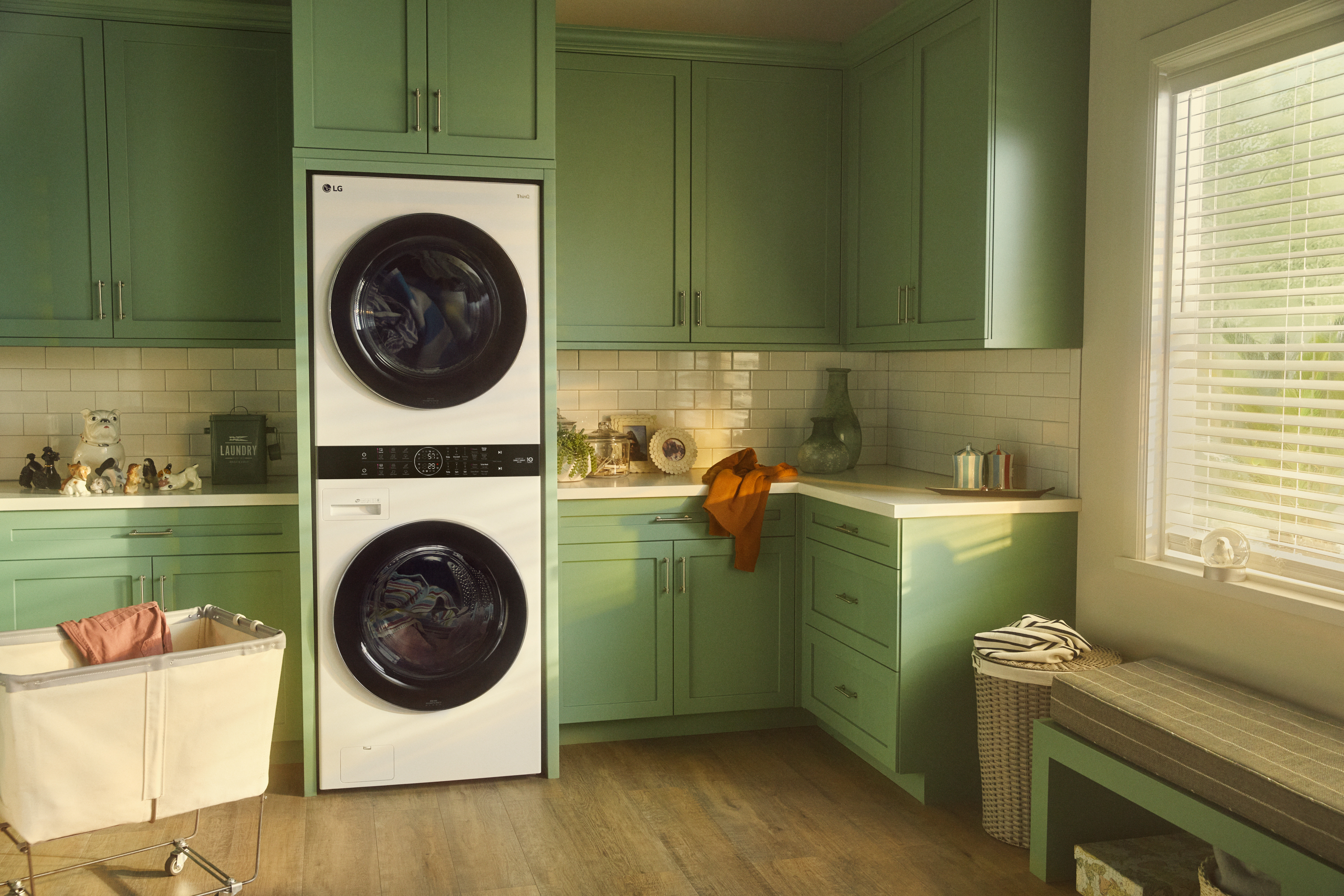 LG stacked laundry pair in modern laundry room