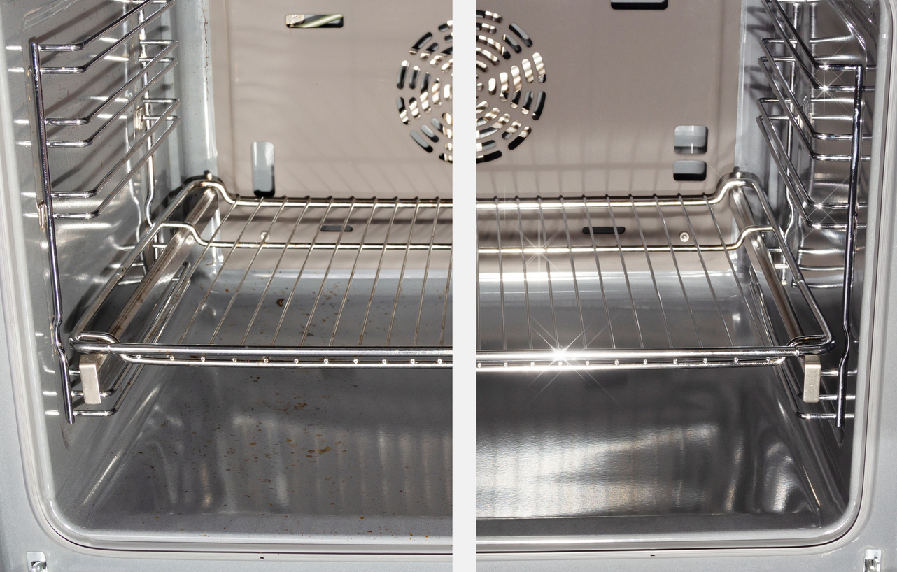 Before and after of oven using self clean cycle