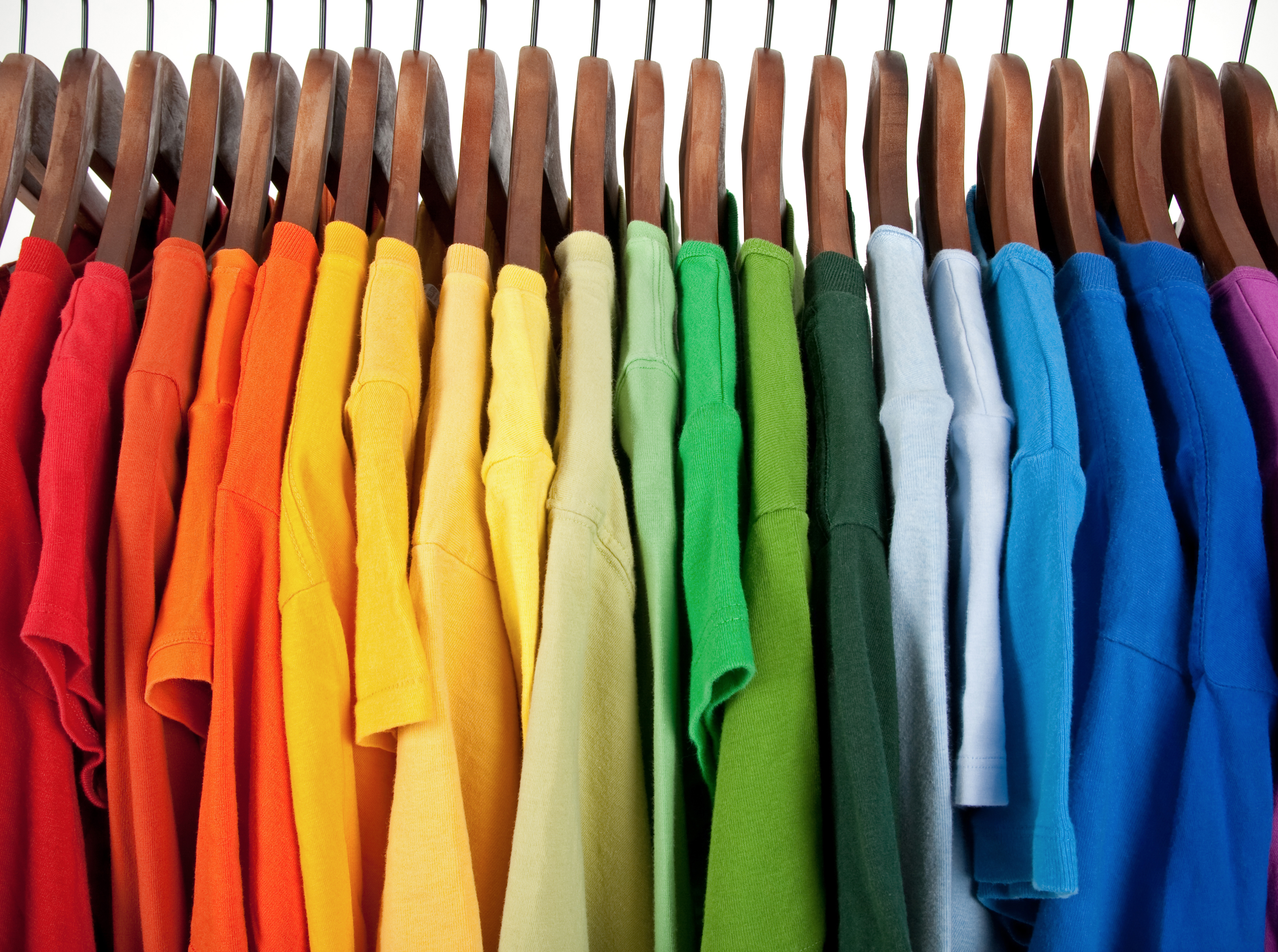 bright t-shirts on hangers