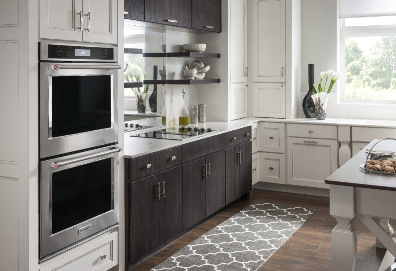 Modern kitchen with double wall oven