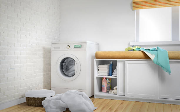 single, white washer in laundry room with basket and soft blanket
