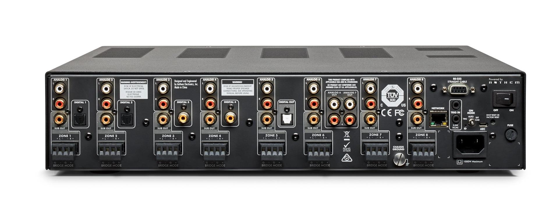 Rear view of Anthem MDX-16 audio distribution system.