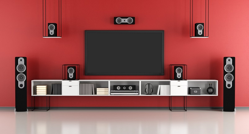 contemporary red and black home cinema system