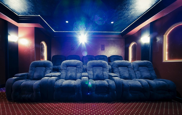 Home theatre with reel shining.