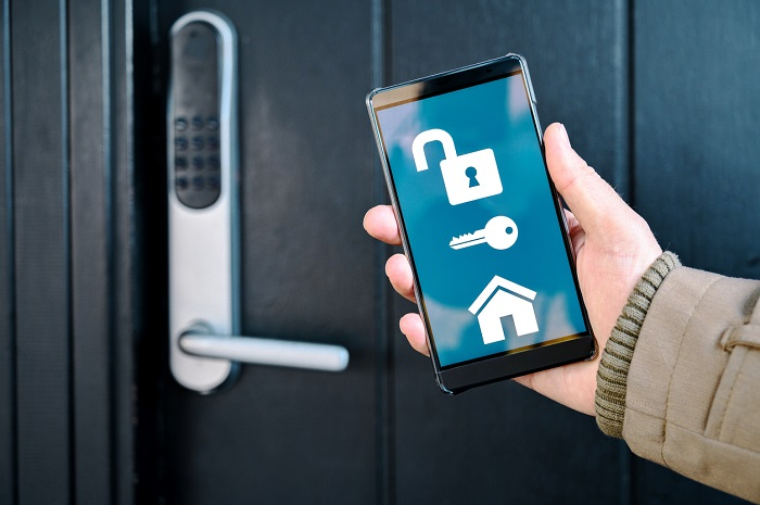 Smart phone displaying an app for a smart lock.