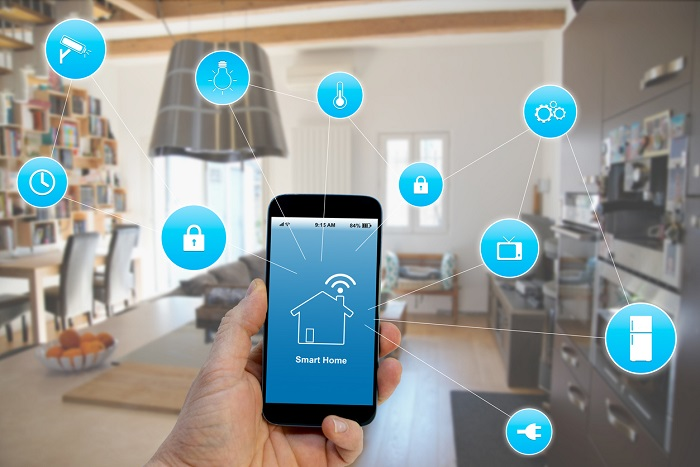 Display of smart phone connecting to all of the wireless networks in a home.