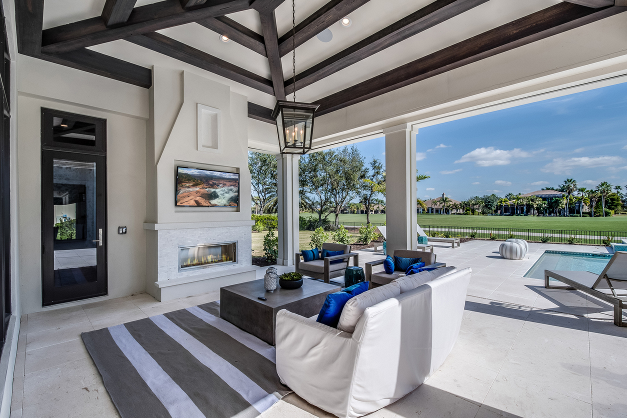 Home design that includes outdoor TV, fireplace, and covered patio