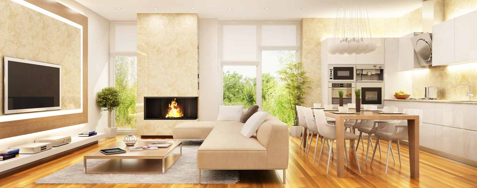 Sunny, modern living room with fireplace, TV, and smart shading solution