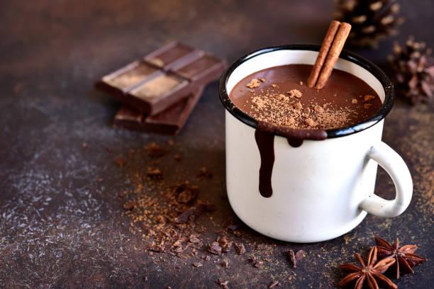 a coffee mug with a cinnamon stick and chocolate bar