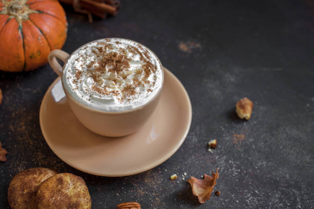 latte with seasonal autumn décor and cookies
