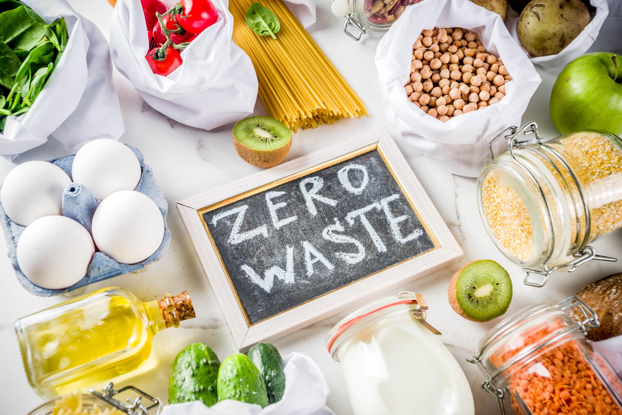 zero food waste banner with surrounding food