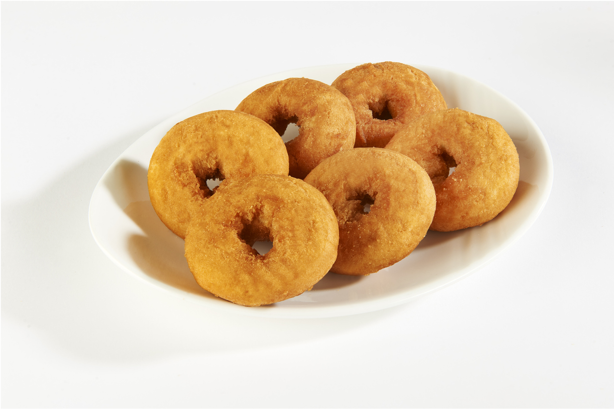 a plate of donuts