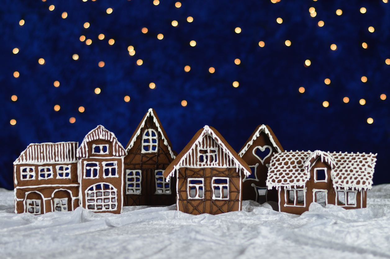 a Christmas village made of gingerbread houses