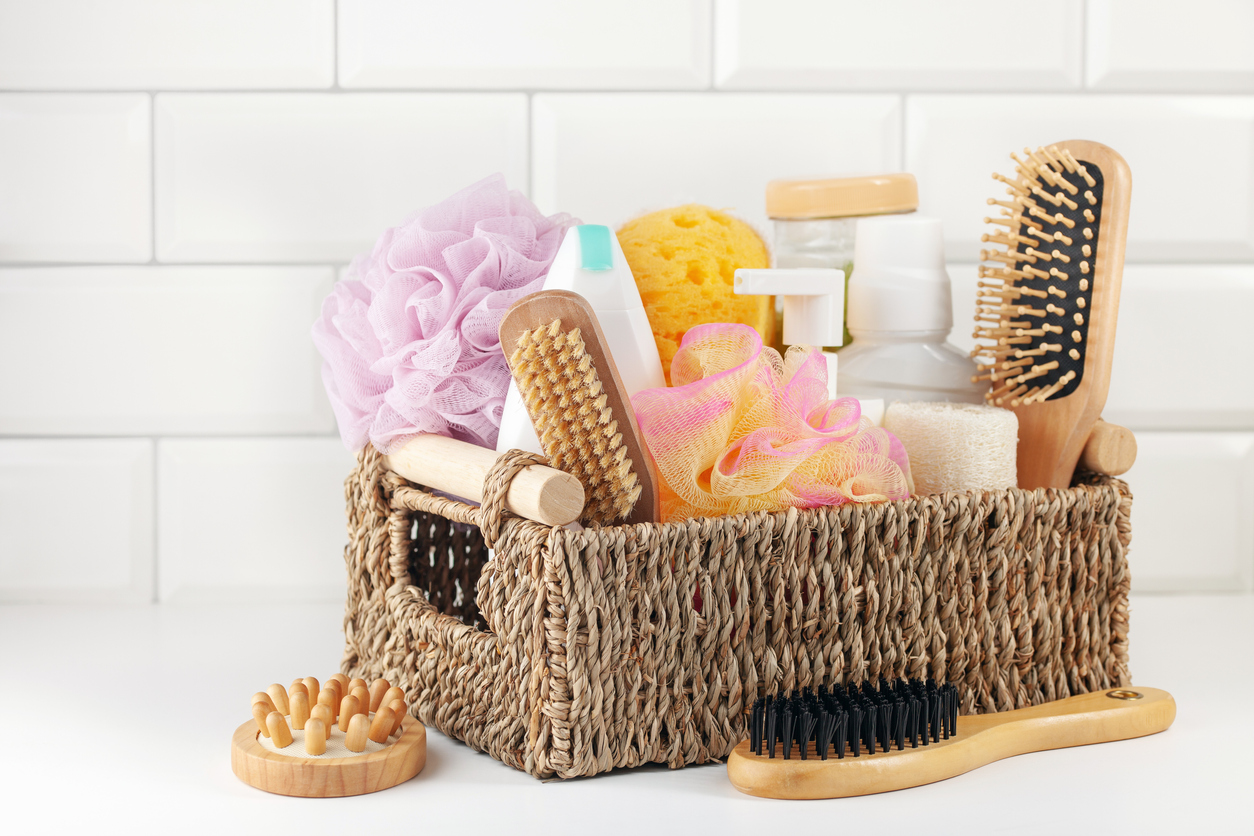 basket with bathroom accessories