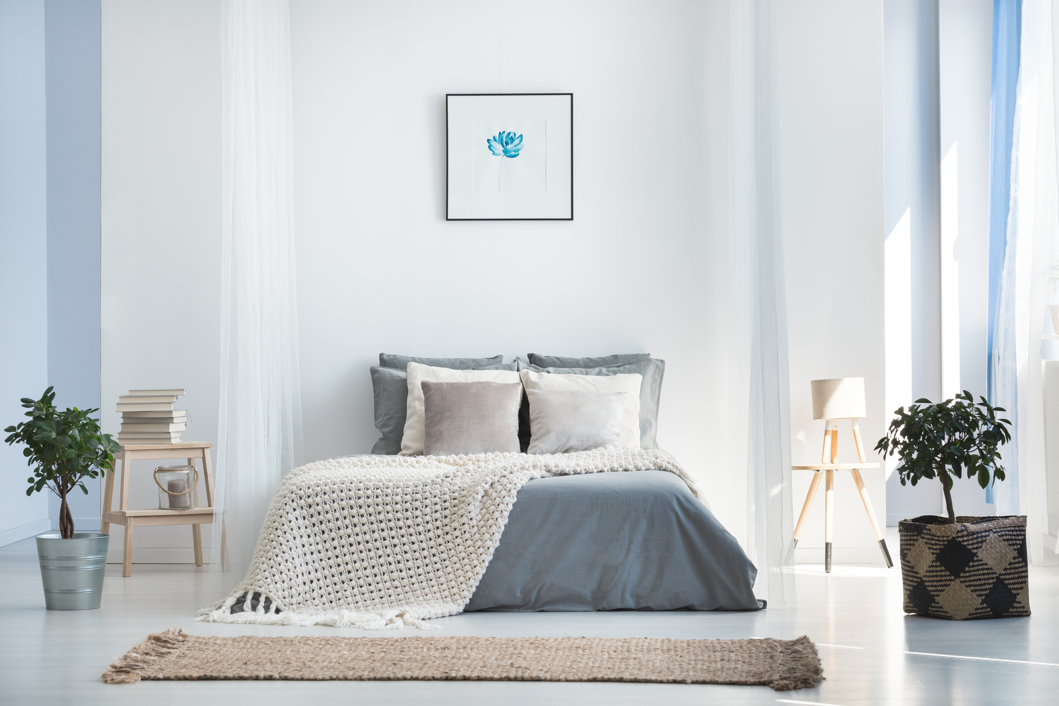 bedroom with white color palette