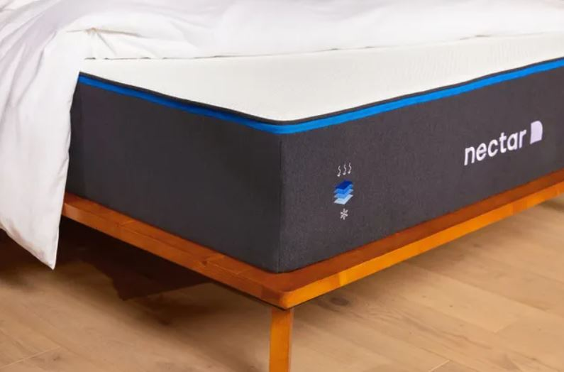 Nectar mattress with bedspread pulled back