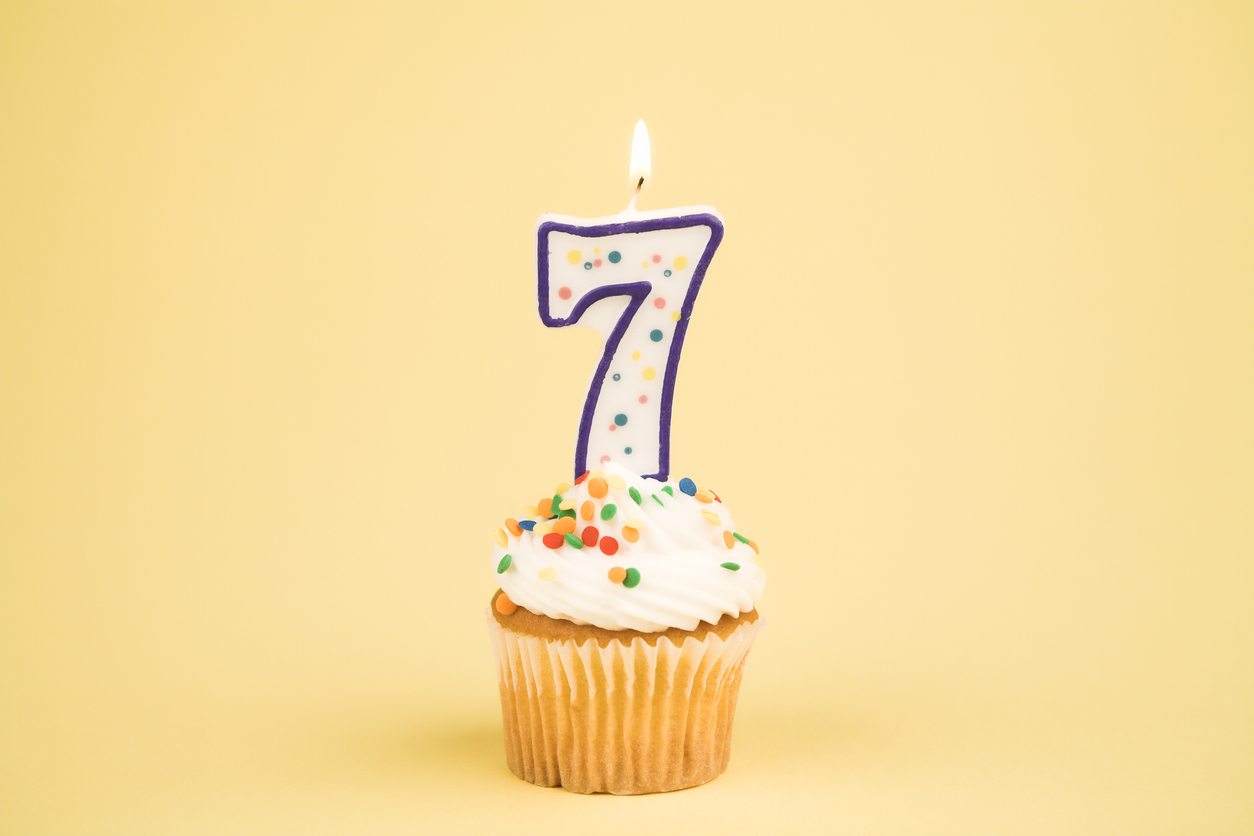cupcake with seven candle against a yellow background