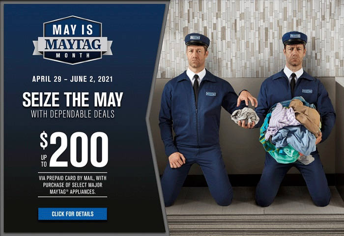 May is Maytag Month promo image - Maytag Man plays the part of washer and dyer