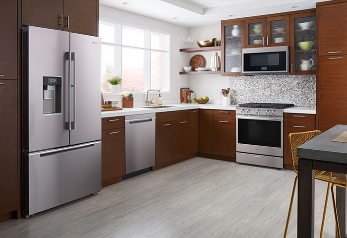 gorgeous contemporary kitchen with a Whirlpool appliance suite