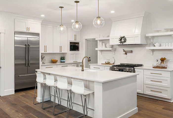 gorgeous contemporary kitchen with an appliance suite