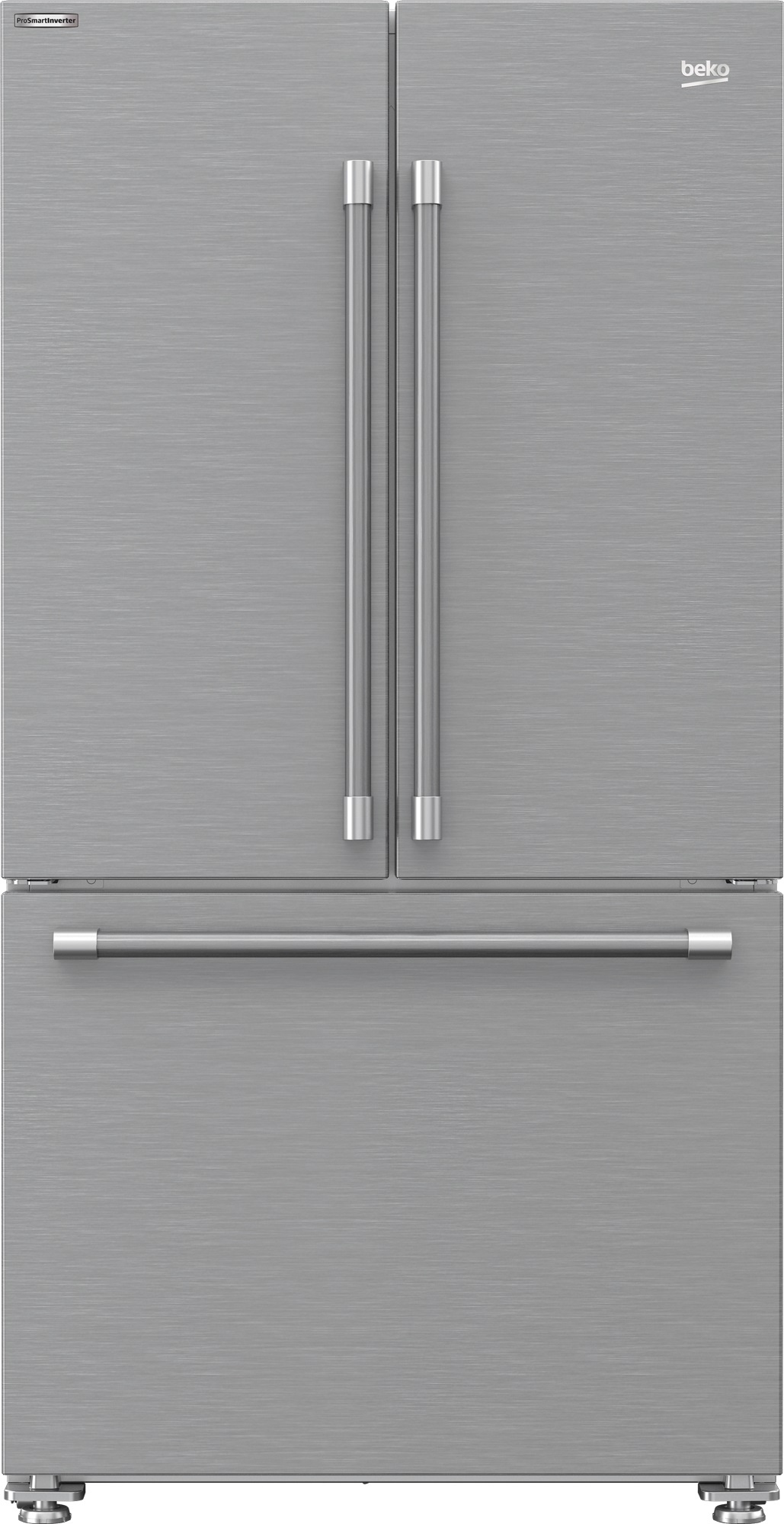 Front view of Beko BFFD3624SS French door refrigerator
