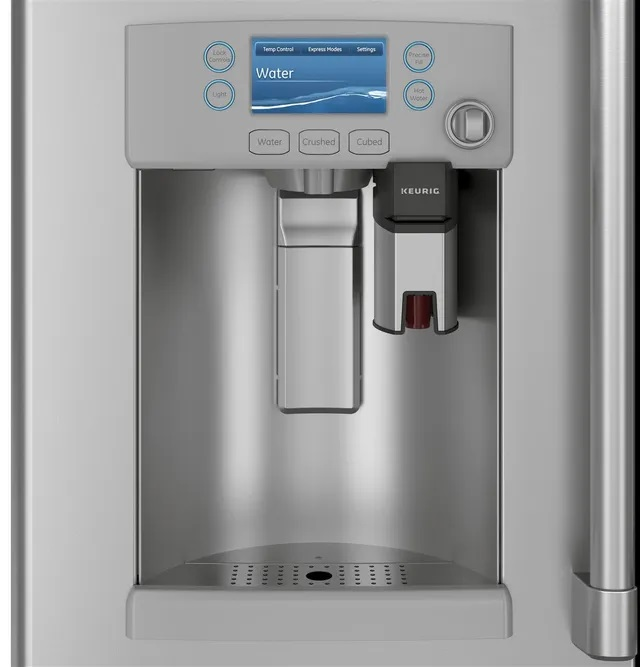 Closeup of hot water and Keurig dispenser on Café French door refrigerator