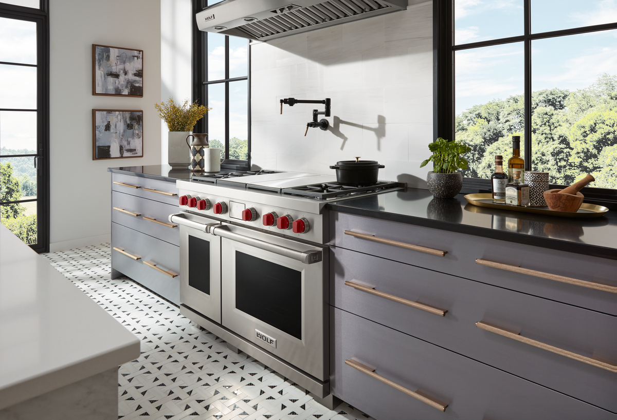 High-end kitchen featuring Wolf 48 inch pro-style range.