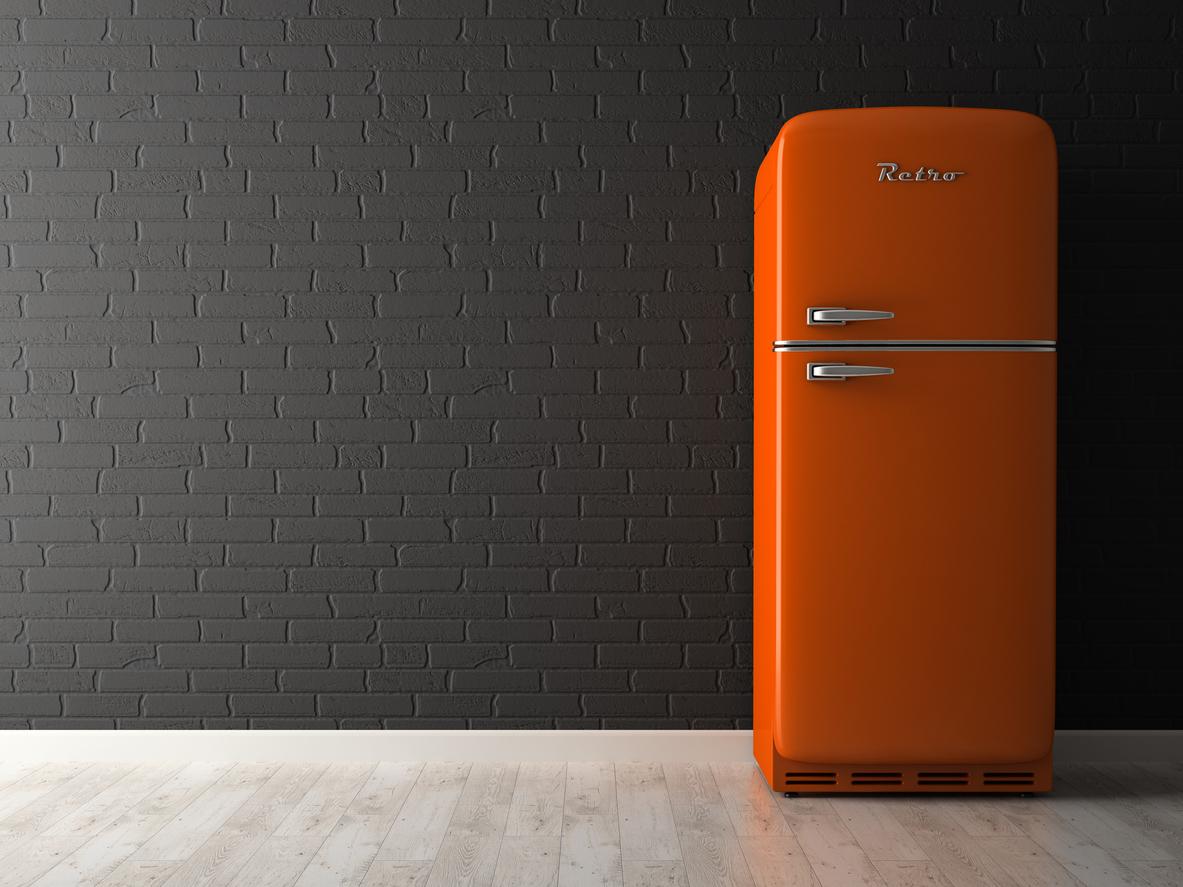 fridge with a freezer on top