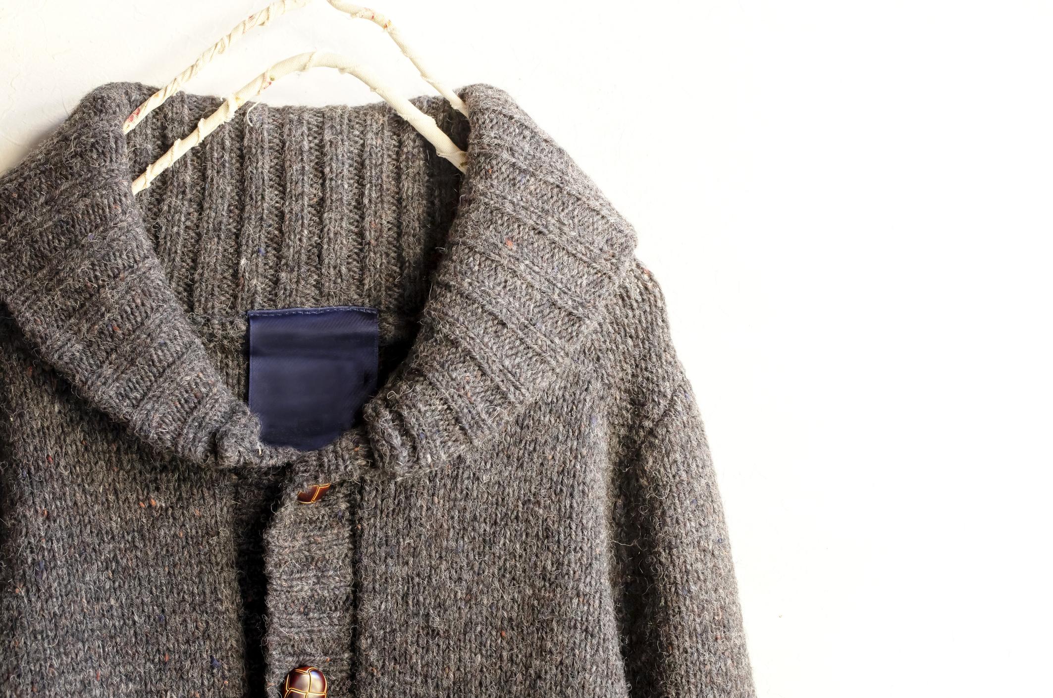 wool coat on a coat hanger