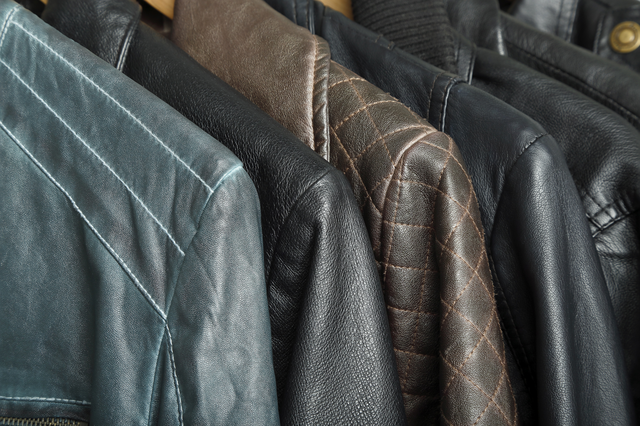 row of leather jackets