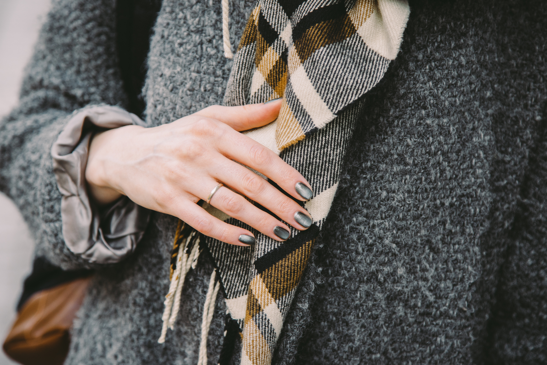 close up of womans wool jacket and scarf