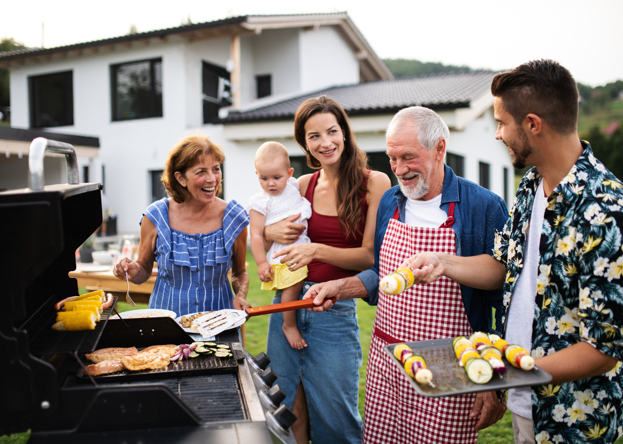 grilling with family at a party