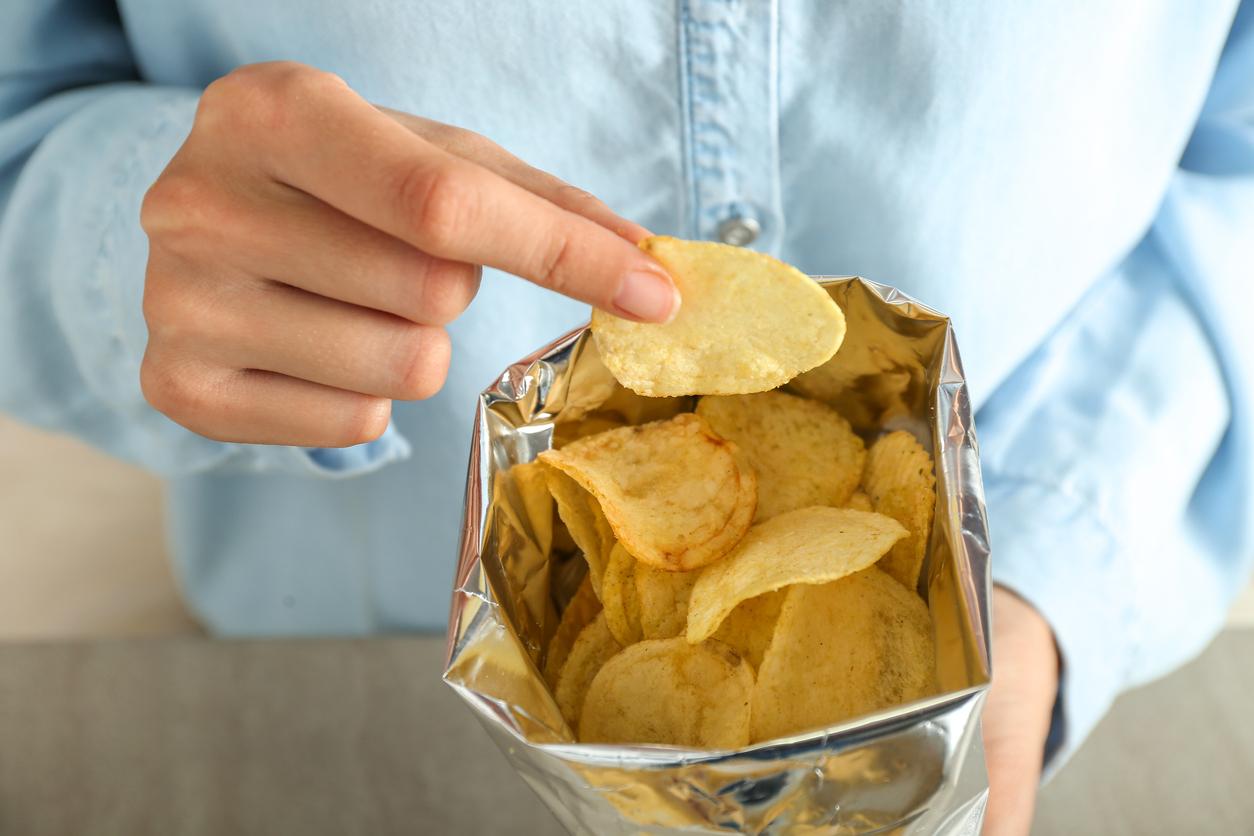 an open bag of potato chips