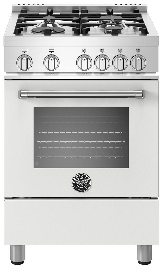 Cuisinière au gaz style Pro Bertazzoni® de 2,4 pi³ de 24 po - Blanc mat-MAST244GASBIE