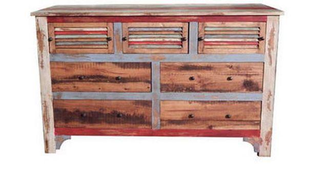 Million Dollar Rustic Multi Color Louvered Bedroom Dresser-02-2-60-60-DRESSER