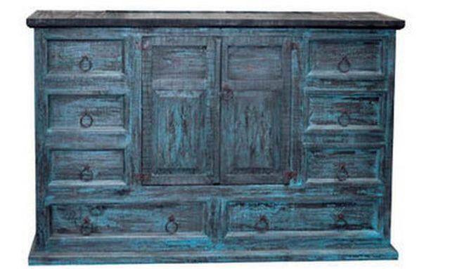 Million Dollar Rustic Turquoise Scrape Bedroom Dresser-02-2-79-02-D