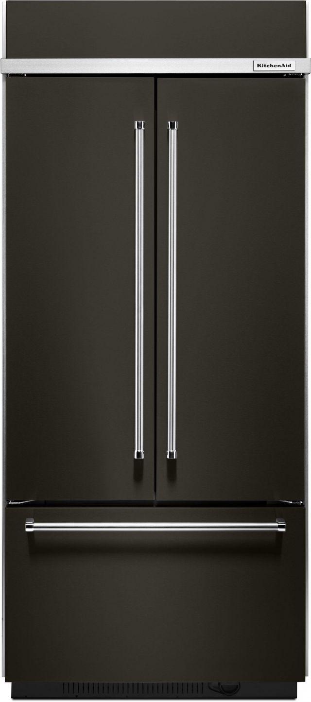 KitchenAid® 20.81 Cu. Ft. Black Stainless Steel Built In French Door Refrigerator-KBFN506EBS