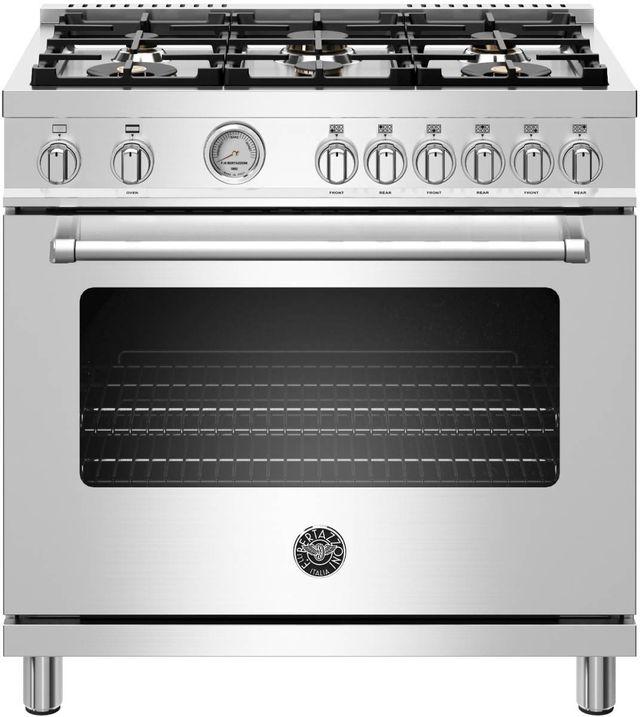 "Bertazzoni Master Series 36"" Stainless Steel Free Standing Gas Range-MAST366GASXT"