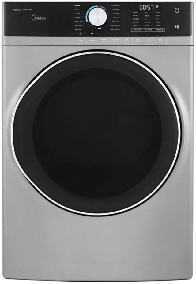 Midea® 8.0 Cu. Ft. Graphite Steel Front Load Gas Dryer-MLG52S7AGS