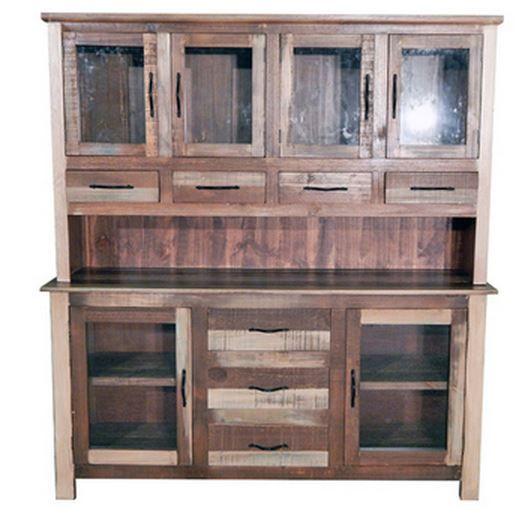 Million Dollar Rustic Slatted Wood China Cabinet-03-2-65-C-3