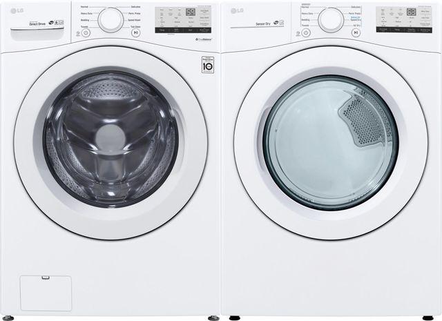 LG White Front Load Laundry Pair-LGLAUDLE3400W