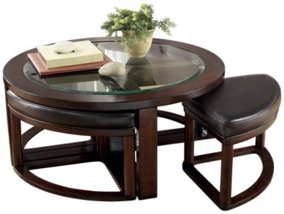 Signature Design by Ashley® Marion Dark Brown Cocktail Table with 4 Stools-T477-8