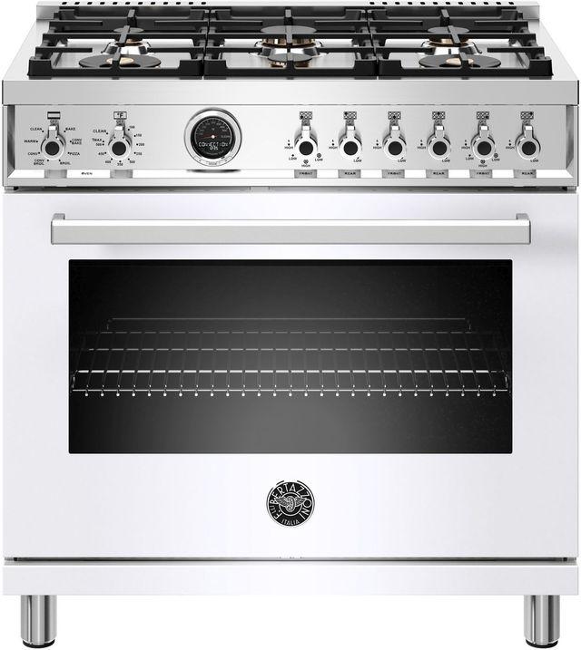 Cuisinière biénergie style Pro Bertazzoni® de 5,7 pi³ de 36 po - Blanc-PROF366DFSBIT