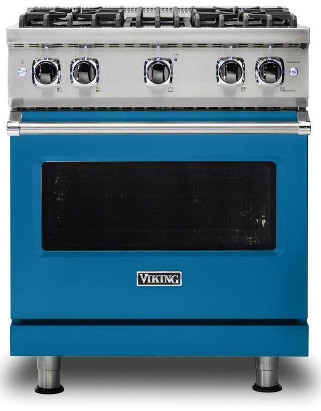 "Viking® 5 Series 30"" Alluvial Blue Pro Style Liquid Propane Gas Range-VGR5304BABLP"
