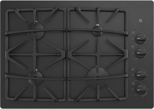 """GE® 30"""" Built-In Gas Cooktop-Black-JGP5530DLBB"""