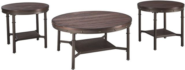Signature Design by Ashley® Sandling 3 Piece Rustic Brown Occasional Table Set-T277-13